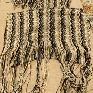 Light fringed scarf. muted multi zigzag pattern